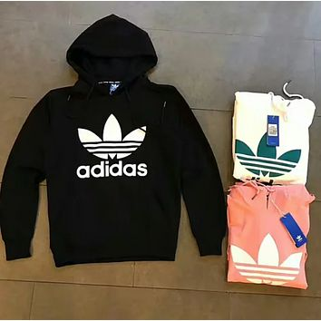 Adidas High quality Autumn And Winter New Fashion Bust Letter Leaf Print Leisure Loose Hooded Couple Long Sleeve Sweater White