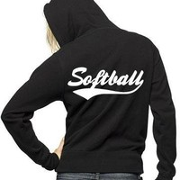 Softball Rhinestone Full Zip Hooded Sweatshirt