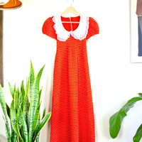 1970s red maxi with white laced bib neckline and puff sleeves // vintage peter pan collared polka dot dress
