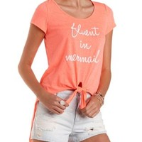 Tie-Front Mermaid Graphic Tee by Charlotte Russe