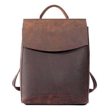 Stockholm Travel Leather Backpack in Dark Brown