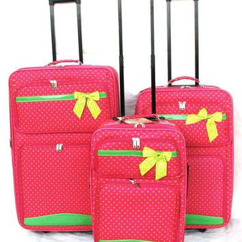 3PC PINK W/ GREEN POLKA DOT  WHEELED EXPANDABLE LUGGAGE / SUIT CASE / W CARRY ON