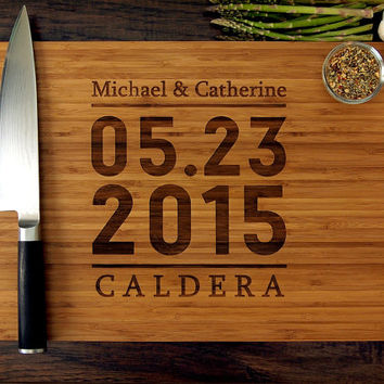 Personalized Wedding Gift, Custom Engraved Wood Cutting Board, Anniversary Gift, Wedding Date, Christmas Gift, Chef, Foodie, Cook