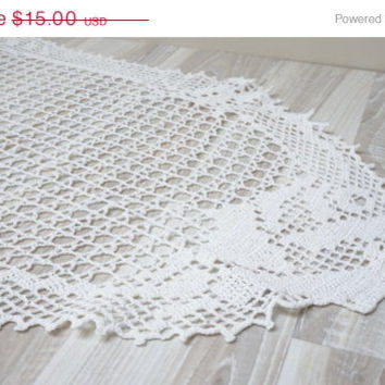 CIJ SALE White crochet runner Coaster mat pad table placemat doily folk style flower rose openwork long granny square small table flax