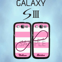 Personalized Best Friends Infinity Pink Stripe Galaxy Case - Samsung Galaxy S3 Case - Samsung Galaxy SIII - Two Case Set