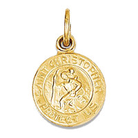 14k Yellow Gold St. Christopher Medal Charm Pendant - 14mm