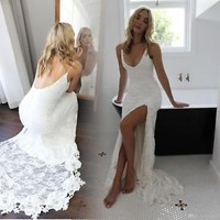 Lace Country Boho Beach Wedding Dress Bridal Gown with Slit Size 0 2 4 6 8 10 12