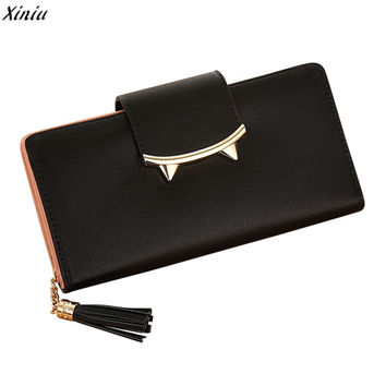 Fashion Korean Envelope Women Wallet 2017 Kawaii Cat Women PU Long Clutch Wallet With Tassel Lady Clutch Coin Pocket Card Holder