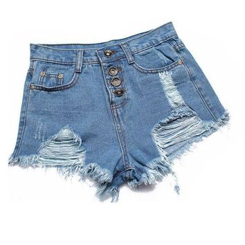 ESBON Hot European and American summer wind female blue high waist denim shorts women worn loose burr hole jeans shorts plus size