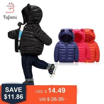 2018 New Warm Baby Winter Coats Down Cotton Coat Jacket kids Baby Clothes Hooded infant Down Puffer Jackets Boys Girls Overalls