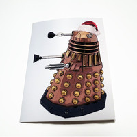 "Geeky Christmas Card Set, Doctor Who Dalek Santa Holiday Cards, Set of 8, 4.25"" x 5.5"""