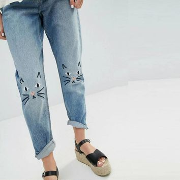 Autumn Embroidery Cartoons Slim Casual Pants Jeans [8511497479]