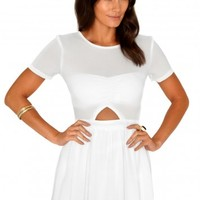 Missguided - Nuria Chiffon Cut Out Skater Dress In Cream