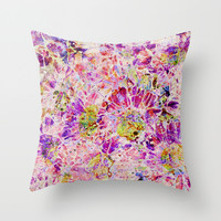 floral mosaic Throw Pillow by Clemm