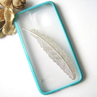 Silver Feather Turquoise Rubber Transparent Samsung Galaxy S5 Case, Samsung Galaxy G9006 Case