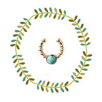 Gold & Turquoise Fake Septum Piercing, Round Faux Nose Ring