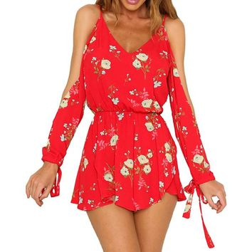 Off Shoulder Lace Up Long Sleeve Sexy V Neck Women Playsuits Casual Overalls Boho Jumpsuit Beach Rompers