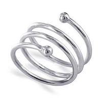 LWRS005-8 925 Sterling Silver Polished Finish Spiral Ring