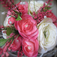FREE SHIPPING Coral Pink Cream Pearl Natural Bridal Bouquet - wrapped stems with matching boutonnière natural modern bright ribbon wrap