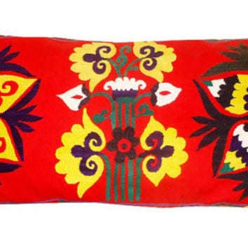 Large Lumbar Vintage Suzani Hand Embroidered Pillow Cover ( Red, Yellow, Teal, White) 18'' x 38''