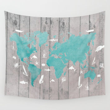 world map 100 fish and surf #worldmap #map Wall Tapestry by jbjart