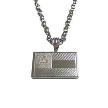 Silver Toned Etched Georgia State Flag Pendant Necklace