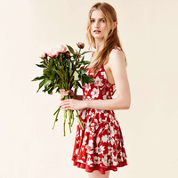 Casual Red Floral Printed Spaghetti Strap Criss Cross Back Mini Dress