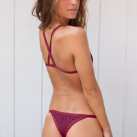 Posh Pua Bikinis Kainalu Crochet Bottom in Rouge