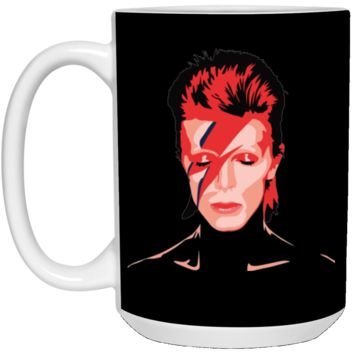 David Bowie Aladdin Sane Mens Navy Heather T-shirt (5)-01 21504 15 oz. White Mug