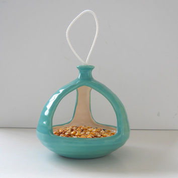Bird Feeder Ceramic 3 Sided  MCM Retro Hanging In Aqua Blue