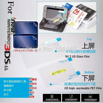 Hote New 9H Top Glass LCD Screen Protector Anti Film + Full cover skin For Nintendo NEW 3DS XL LL NEW 3DSLL
