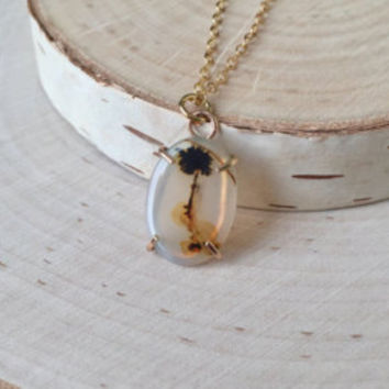 Tiny Dendritic Agate Pendant in 14k Yellow Gold with Palm Tree Scenery, Genuine Gemstone Jewelry, Hand Made, Prong Set, Gold Necklace, Gift