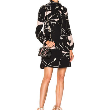 Valentino Printed Long Sleeve Mini Dress in Black & Wild Rose | FWRD