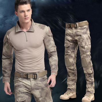 Tactical Clothing Suit Special Forces Military Uniform SWAT Tactical Camouflage Combat Suit Army Clothes Pants+T-shirt+Knee pad