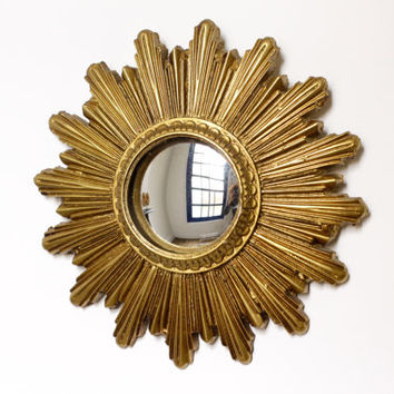 Small Vintage Gold Sunburst Mirror - Convex Starburst Mirror