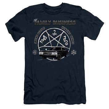 Supernatural Slim Fit T-Shirt Family Business Quote Navy Tee