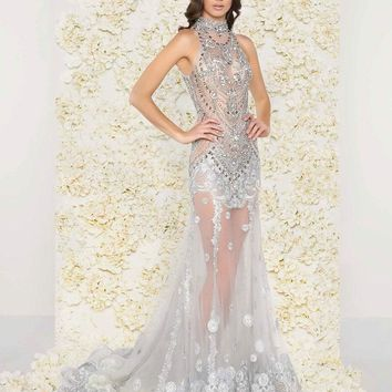 Mac Duggal - 50426D Bejeweled High Neck Sheer Evening Gown