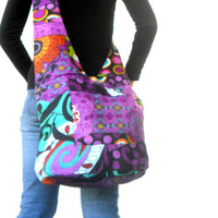 Reversible Sling Bag Boho Bag Hobo Hippie Bag Hippie Bag Crossbody Bag Bohemian Bag Shoulder Bag Messenger Bag Multi Color purple Color