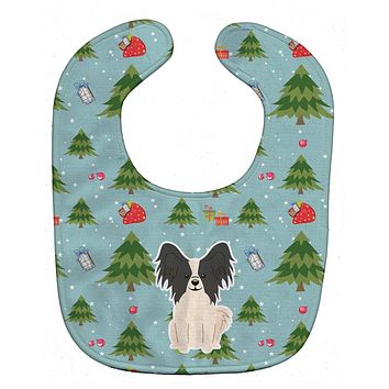 Christmas Papillon Black White Baby Bib BB4736BIB