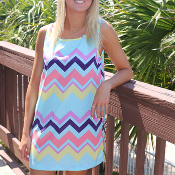 Summer Brights Multi Color Zig Zag Print Sleeveless Shift Dress