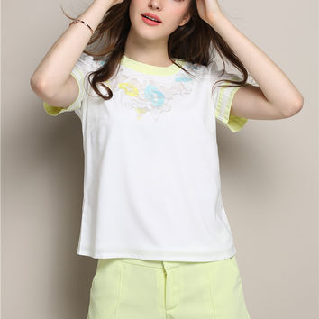 Lace Accent Short Sleeve T-Shirt with Shorts Set