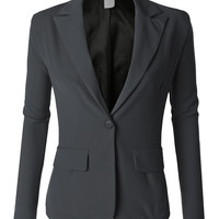 LE3NO Womens Single Button Oversized Boyfriend Blazer