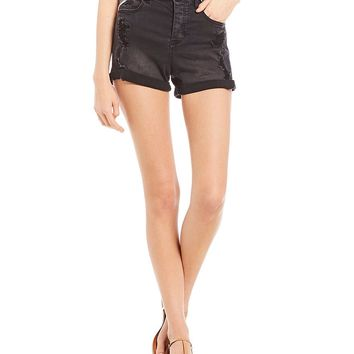Celebrity Pink High Rise Rolled Cuff Mom Shorts | Dillards