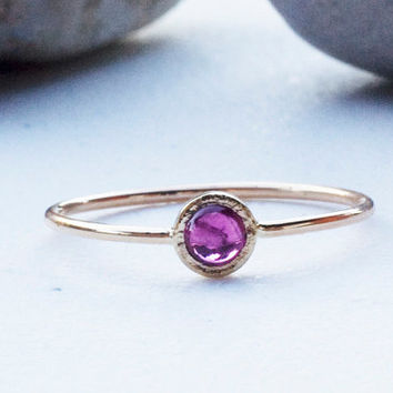 Ruby 14k gold stack  ring, thin gold ruby ring,  july birthstone, handmade engagement ring