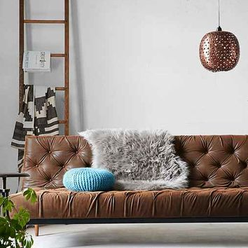 Vegan Leather Chesterfield Convertible Sofa