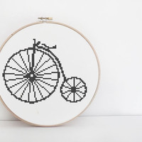 PDF Cross Stitch Pattern - Penny Farthing Counted Cross Stitch Chart, Victorian Steampunk Shabby Chic - Instant Download
