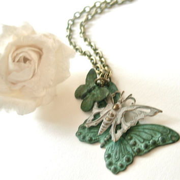 butterfly necklace trio