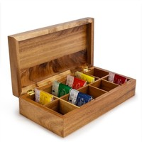 Acacia Wood Compartment Tea Box | bambeco