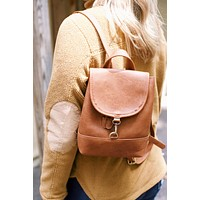 Mini Backpack, Brown Leather