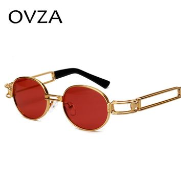 OVZA Oval Steampunk Sunglasses Men Classic Metal Sunglasses Women Vintage Openwork Eyeglasses Gothic Style S6095